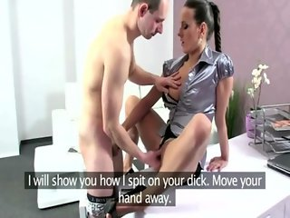 Hot casting porn agent drilled on desk