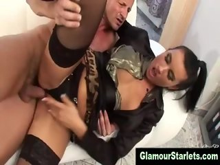 Euro glam fetish slut gets a cumshot