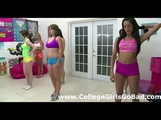 Cute young teen sorority lesbian amateurs cheerlead topless