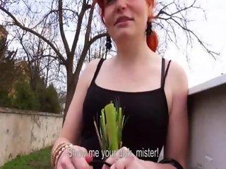 Bushy redhead Czech slut Florence anal banged for money