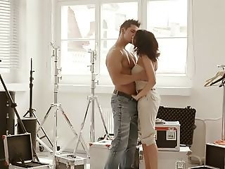 hot busty cuban brunette fucked in a photostudio