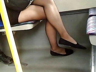 Sheer black pantyhose candid