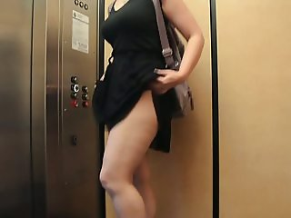 Flashing panties in public elevator