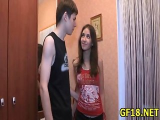 He pushes hard cock in pussy of happy teen cutie from the behind