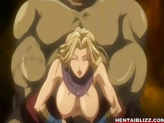 Chained hentai brutally drilled by monster te