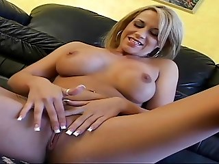 Blonde hottie with firm ass and nice tits smokes a cigarette while masturbating
