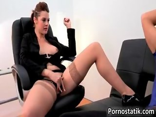 Horny perverted secretary with nice