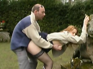 French redhead student anal fucked in a parc