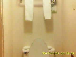 Hairy wife in bathroom on hidden cam