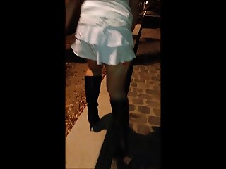 Bitch in mini skirt stocking sexy in Paris
