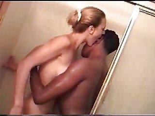 Skinny blonde slut with her black lover