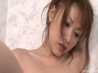 Soft and pretty Rika Kurachi in the shower and touching herself