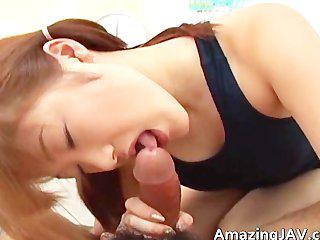 Hot japanese redhead sucking cock part5
