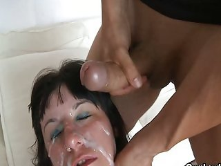 Brunette gets bondaged and fucked by two Mask