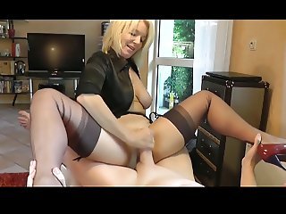 Mature Blonde Rides Younger Cock