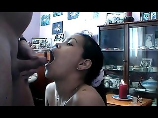 Filipina chick gives amazing blowjob then swallows and gags.