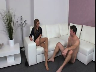 Dude masturbating for female agent in her office