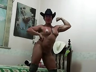 Muscle Tan Milf sits on Face of a man