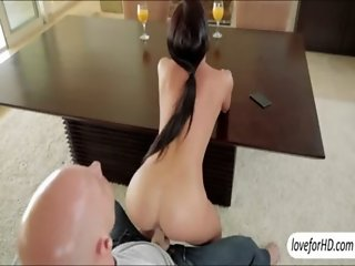 Busty beauty Rahyndee James waste not time in seducing her man into sex