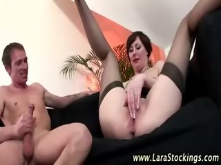 Watch mature stockings slut takes hard dick