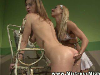 LEZDOM blonde domina nurse fingers sub
