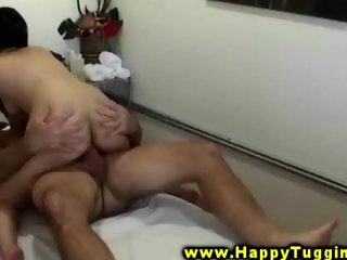 MAsseuse rides her clients hard dick during his session
