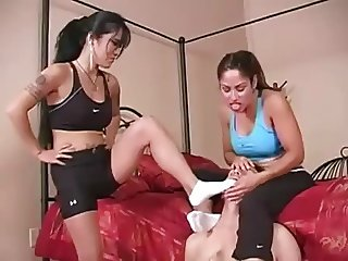 Workout Princesses make loser sniff socks, spit on him