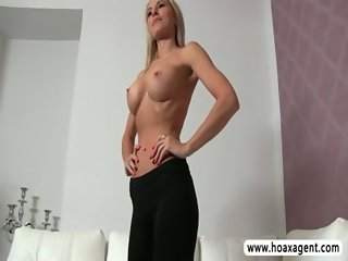 Sultry mature Bettany fucked and jizzed during her fake porn tryout