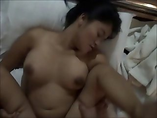 Sexy Tattooed Asian Girl Takes a Cumshot on Her Hairy Pussy