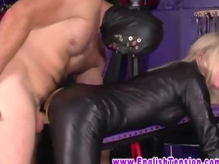 Dominatrix gets oral from her eager slave in her dungeon