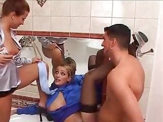 Satin Blouse Threesome