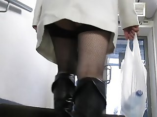 Upskirt Stockings and Black Leather Boots 1