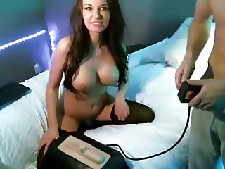 Bf turns gf on with sybian on cam