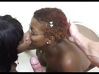 2 Big Titted Black Chicks Share His Jizz