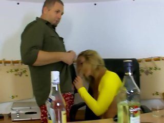 Hot secretary gets drunk on the job