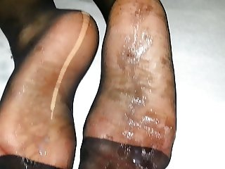 cum after nylon feet my gf
