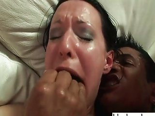 Black monster cocks damaging white girls ass