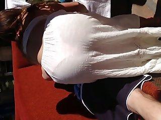 See thru white dress showing pink thong