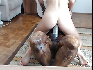 Kinky Brunette DP's Herself On Cam