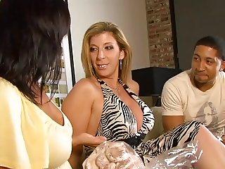 Ricki White and blond sucking black cock then jerk off guy on sofa