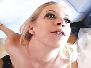 Amazing blonde with small tits