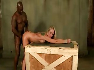 Tied up white bitchs ass fucked hard by a black big dick