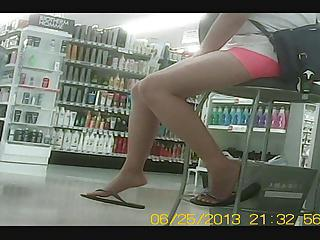Candid Asian legs and feet at the Store
