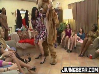 CFNM dancing bear at drunk party