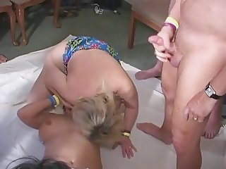 Hot lesbian action at the swinger club