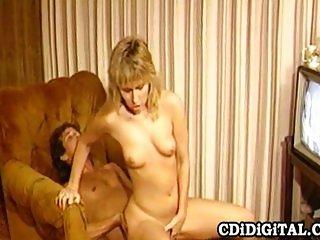 80s pornstars fucking on sofa chair