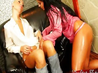 Candy Blond Lesbian Lotion Fully Clothed Sex