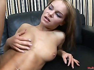 Horny bitch banged on the sofa
