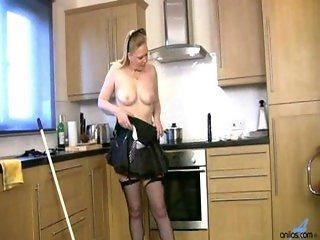 Buxom maid pussy masturbation