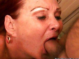 Grandma with big tits gets a facial